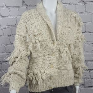 Vintage Knitted and Knotted Cardigan, Medium